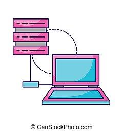 ordinateur portable, base données, stockage, connexion, serveur