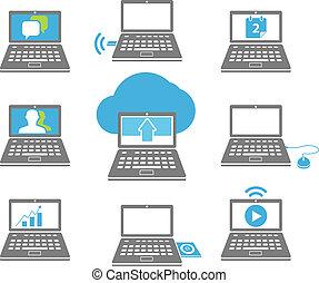 ordinateur portable, blanc, collection, isolé