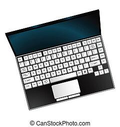 ordinateur portable, blanc, contre