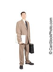 ordinateur portable, blanc, serviette, homme, collier