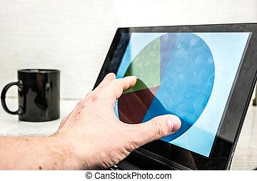 ordinateur portable, bois, mains