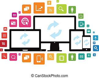 ordinateur portable, bureau, tablette, smartphone, app, nuage, synchro