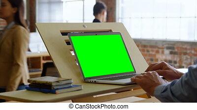 ordinateur portable, bureau, utilisation, cadre, 4k