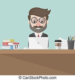 ordinateur portable, business, fonctionnement, homme