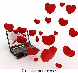 ordinateur portable, cœurs, écran, fermé, prendre