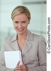 ordinateur portable, cadre, informatique, blonds, tenue