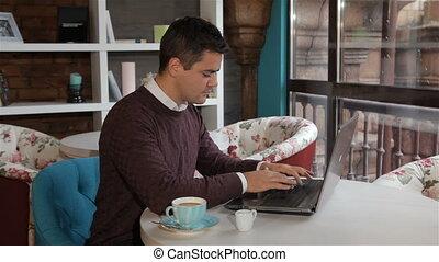 ordinateur portable, café, types, homme