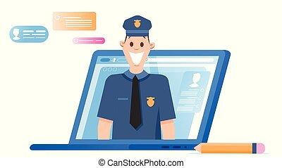 ordinateur portable, caractère, apparaître, headshot, ...