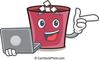 ordinateur portable, caractère, chaud, dessin animé, chocolat