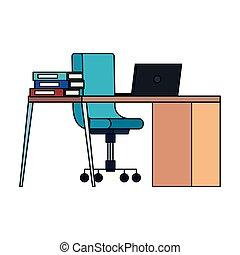ordinateur portable, chaise, bureau bureau