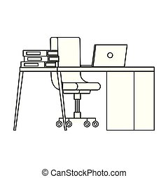ordinateur portable, chaise, bureau bureau