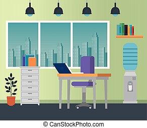 ordinateur portable, chaise, bureau, business, bureau