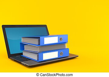 ordinateur portable, classeurs, anneau