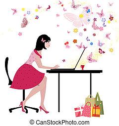 ordinateur portable, communiquer, goûts, girl