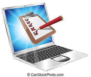 ordinateur portable, concept, enquête, presse-papiers, ligne
