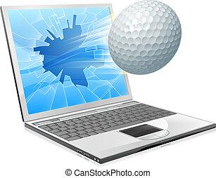 ordinateur portable, concept, golf, écran, balle