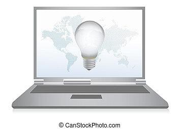 ordinateur portable, concept, idée, illustration