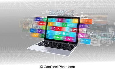 ordinateur portable, concept, internet