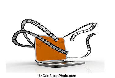 ordinateur portable, concept, multimédia, films.