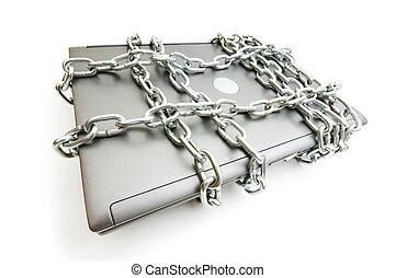 ordinateur portable, concept, sécurité informatique, chaîne