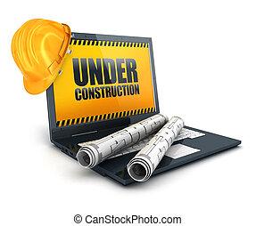 ordinateur portable, construction, 3d, sous