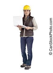 ordinateur portable, construction, fonctionnement, tenue, femme