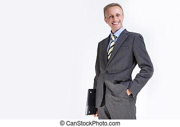 ordinateur portable, contre, white., portrait, homme affaires, caucasien, content