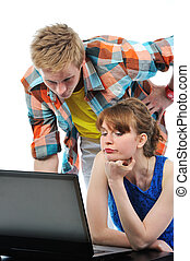 ordinateur portable, couple, jeune