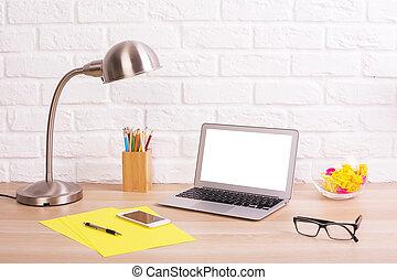 ordinateur portable, créatif, bureau, bureau