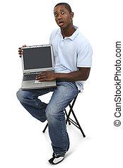 ordinateur portable, désinvolte, homme