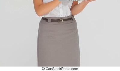 ordinateur portable, dactylographie, femme affaires