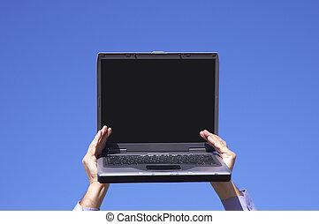 ordinateur portable, dans, mains