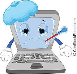 ordinateur portable, dessin animé, malade