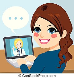 ordinateur portable, docteur, femme, ligne