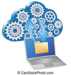 ordinateur portable, données, nuage, échange