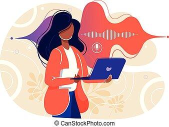 ordinateur portable, dynamique, microphone