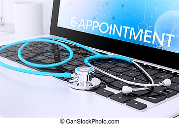 ordinateur portable, e-appointment, écran, stéthoscope, clavier, projection