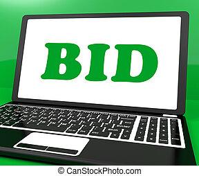 ordinateur portable, enchère, offre, enchère, ligne, bidder, ou, spectacles