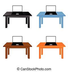 ordinateur portable, ensemble, illustration, bureau