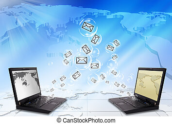 ordinateur portable, enveloppe, email, envoyer