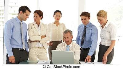 ordinateur portable, equipe affaires, devant