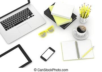ordinateur portable, et, bureau, remplir, lieu travail, vue...