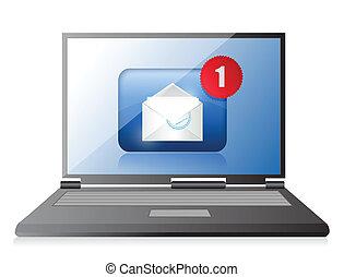 ordinateur portable, et, email., communication, concept