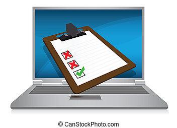 ordinateur portable, exposer, à, a, enquête