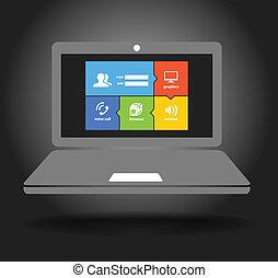 ordinateur portable, exposer, à, moderne, couleur, carreau, interface
