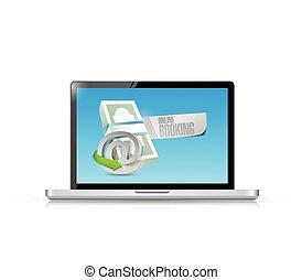 ordinateur portable, factures, réservation, ligne
