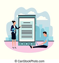 ordinateur portable, femme affaires, homme, utilisation, avatar, informatique, smartphone, grand