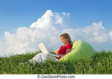 ordinateur portable, femme, informatique, dehors