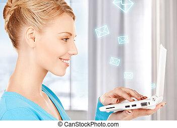 ordinateur portable, femme, informatique