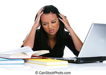 ordinateur portable, femme, informatique, jeune, désespéré